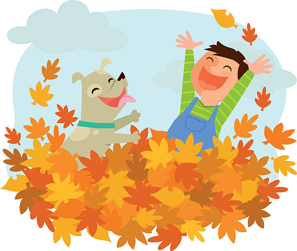 fun of autumn Boy and his dog playing in a pile of autumn leaves heap stock illustrations