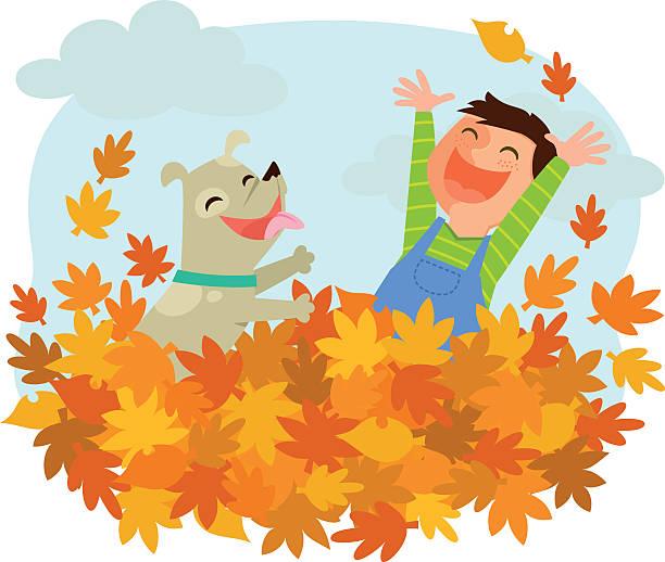 bildbanksillustrationer, clip art samt tecknat material och ikoner med fun of autumn - children autumn