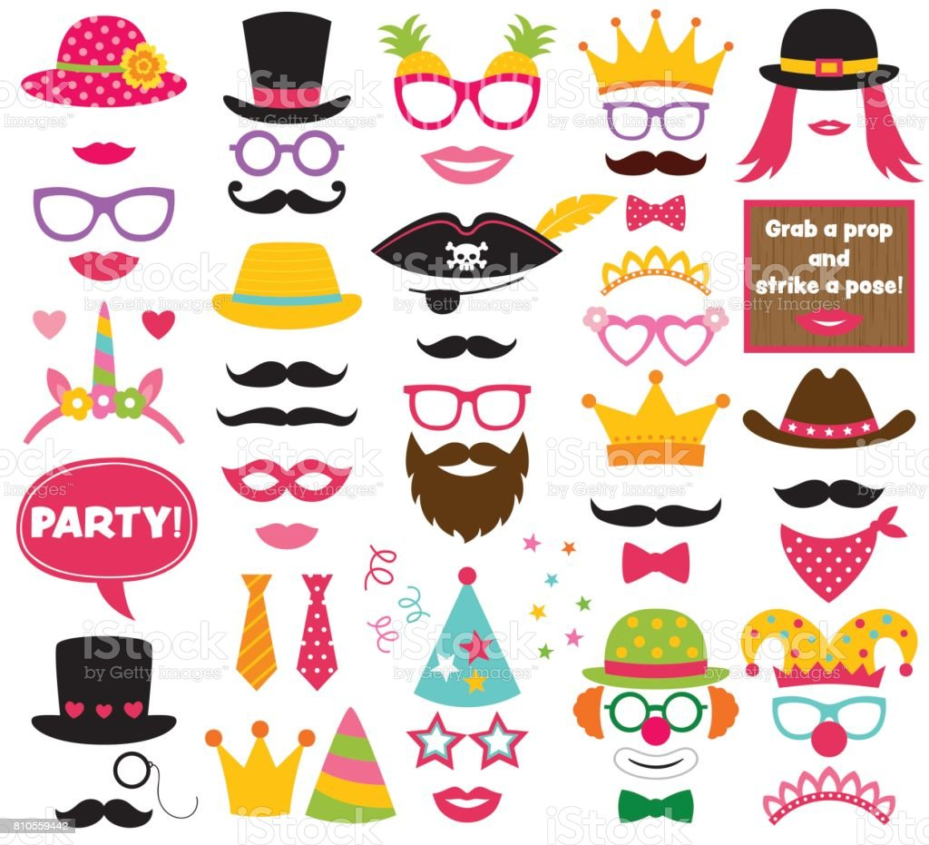 Fun Party Hats Vector Photo Booth Props Stock Illustration Download Image Now Istock