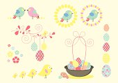 Fun Retro Easter Icons and Symbols