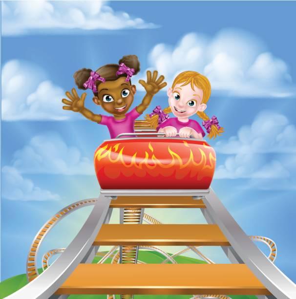 illustrations, cliparts, dessins animés et icônes de kids fun roller coaster - nuage 6