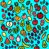 cute fruits pattern - healthy eating