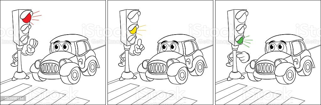 Fun rules at traffic lights directions for a fun car vector art illustration
