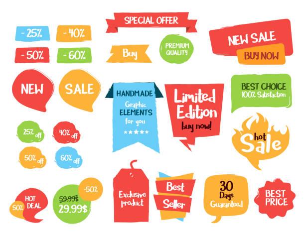 ilustrações, clipart, desenhos animados e ícones de tags divertido venda e rótulos. vetorial mão extraídas de elementos gráficos - botões de bandeiras