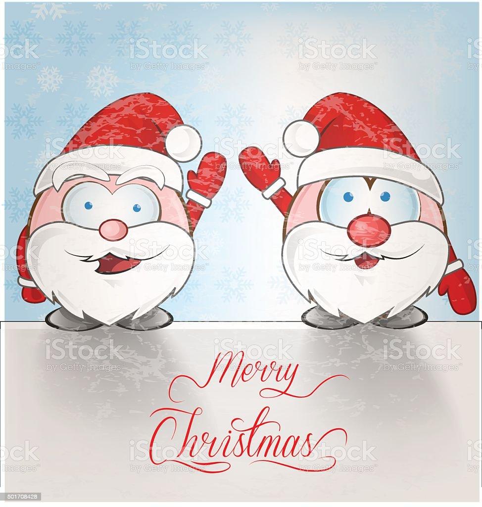 Schnee Lustige Bilder.Lustige Weihnachtsmann Cartoon Auf Schnee Hintergrund Stock