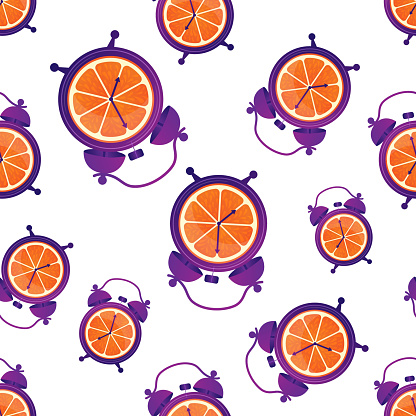 Fun seamless pattern with oranges and alarm clocks. Breakfast time. Wake up. Good morning.