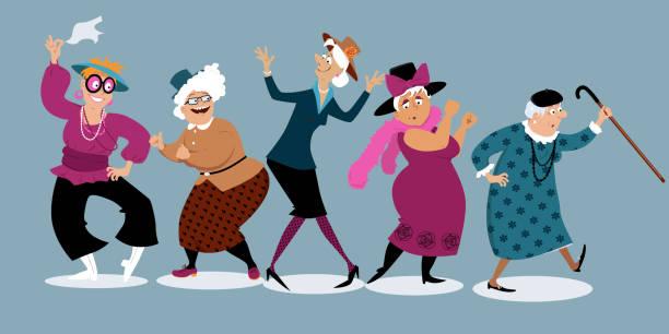 illustrations, cliparts, dessins animés et icônes de amusantes seniors dames - gériatrie