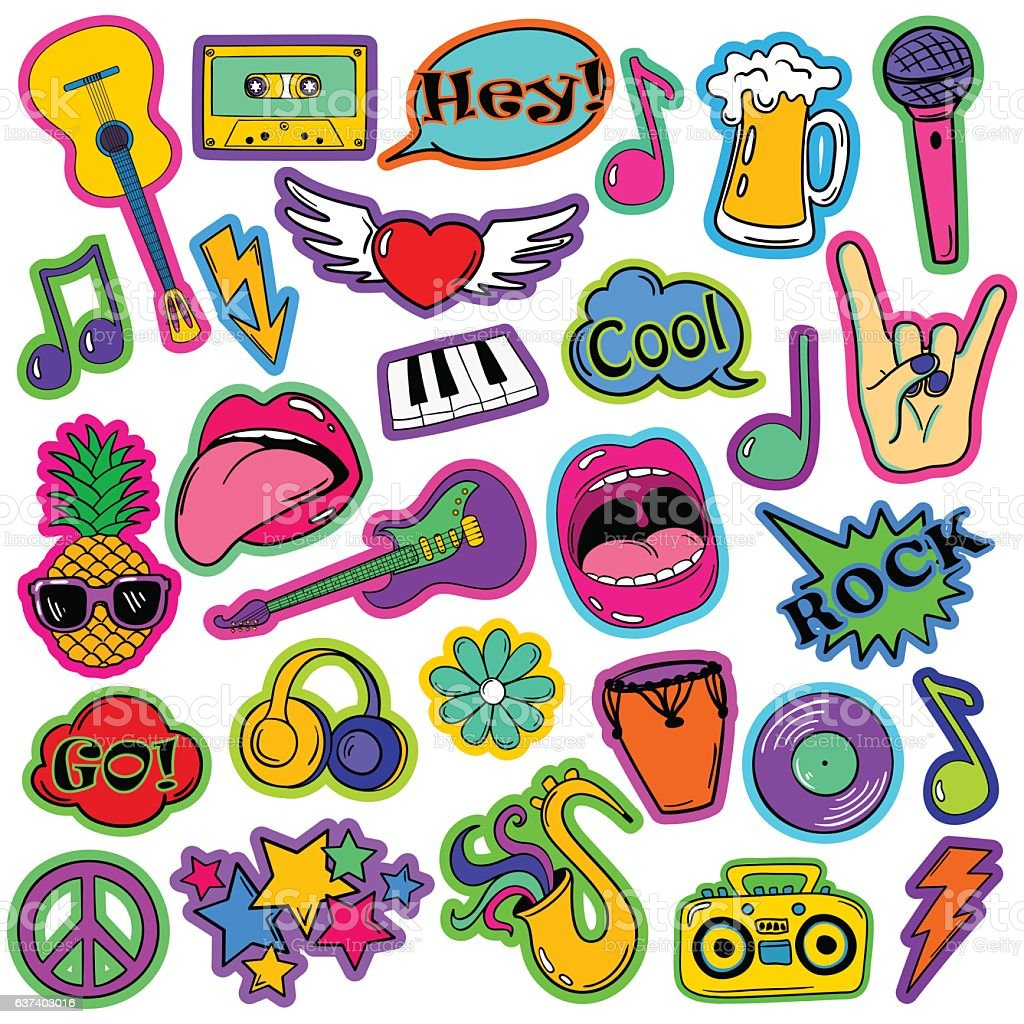 Fun Set Of Cartoon Musical Stickers. vector art illustration