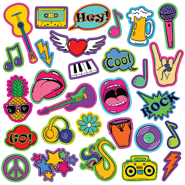 fun set of cartoon musical stickers. - music icons stock illustrations, clip art, cartoons, & icons