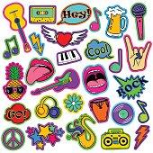 Fun Set Of Cartoon Musical Stickers.
