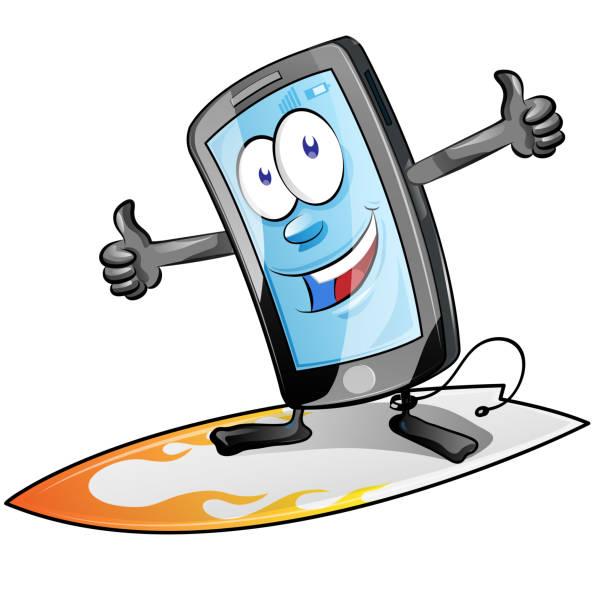fun smartphone character cartoon  on surfboard. isolated on white background. clip art vector vector art illustration