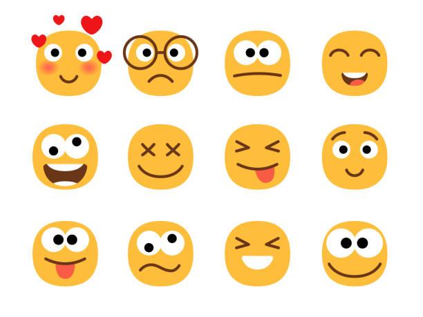 eğlenceli gülümseme ifadeler yüzleri. - google stock illustrations