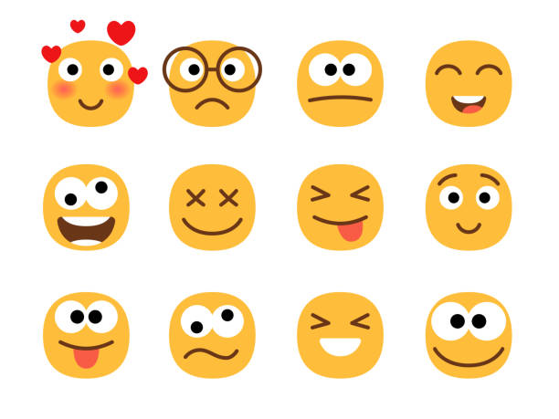 Fun smile emoticons faces. vector art illustration