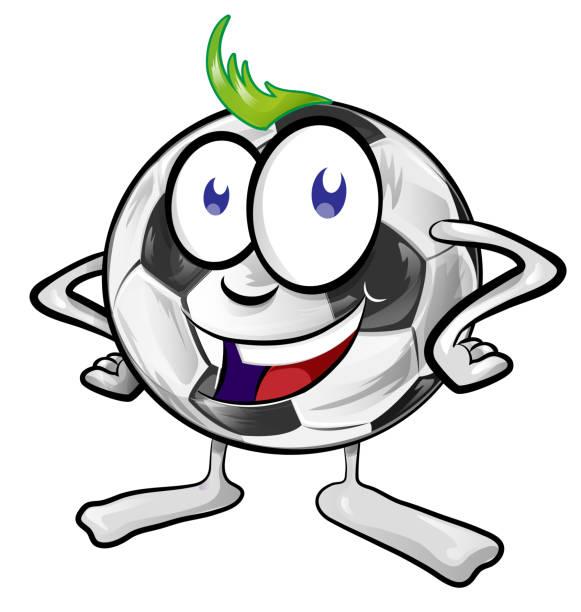 fun soccer ball cartoon vector art illustration