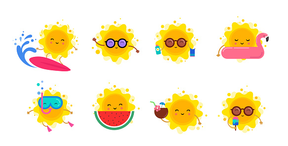 Fun summer elements, sun characters, icons with ice cream, watermelon, surfboard and swimming pool float