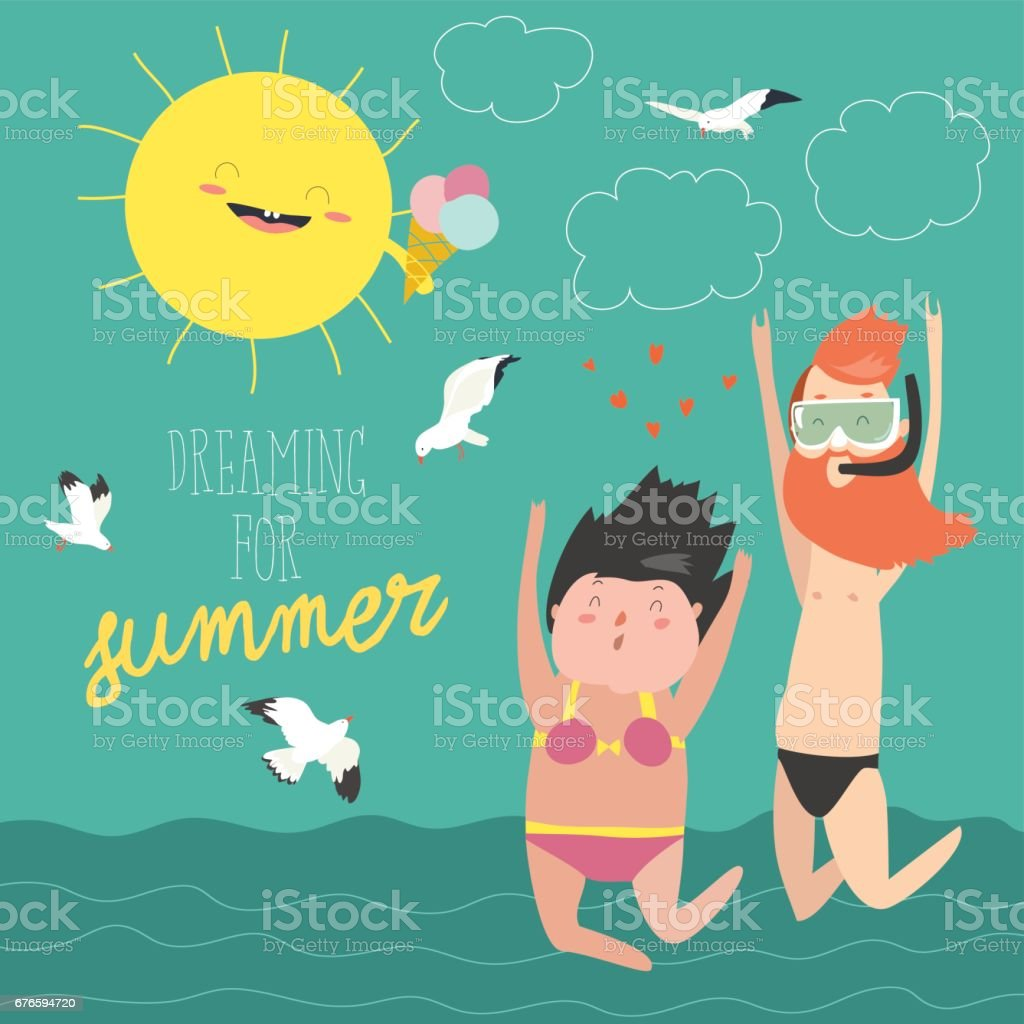 Fun summer vacation. Couple of young people, man and woman are jumping on the sea background vector art illustration