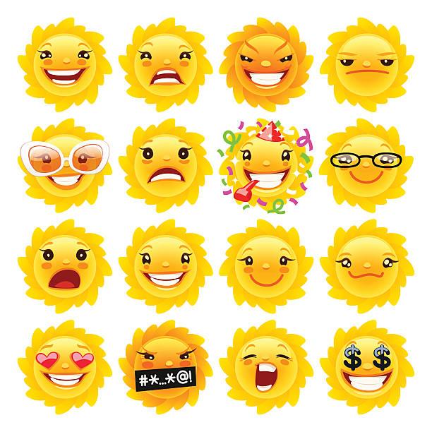 fun sun emojis - evil money stock illustrations, clip art, cartoons, & icons