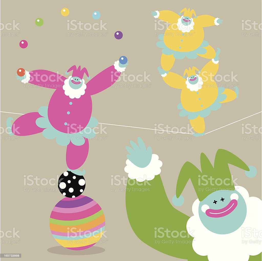 Fun Time With Clowns royalty-free stock vector art
