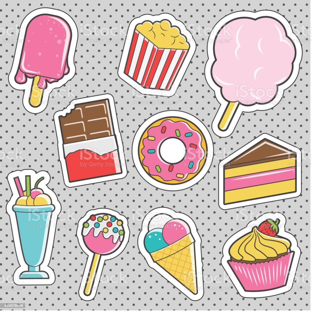 Fun trendy vintage sticker dessert fashion badges vector art illustration