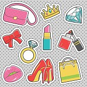 Set of fun trendy vintage sticker fashion badges with girly collection of accessories. Vector illustrations for iron on patches, transfer tottoos, sew on chevron.