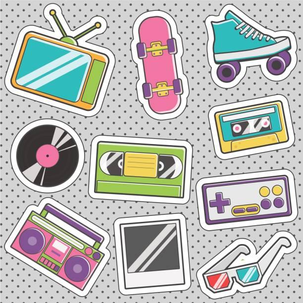 fun trendy vintage sticker retro fashion badges - skateboard stock illustrations