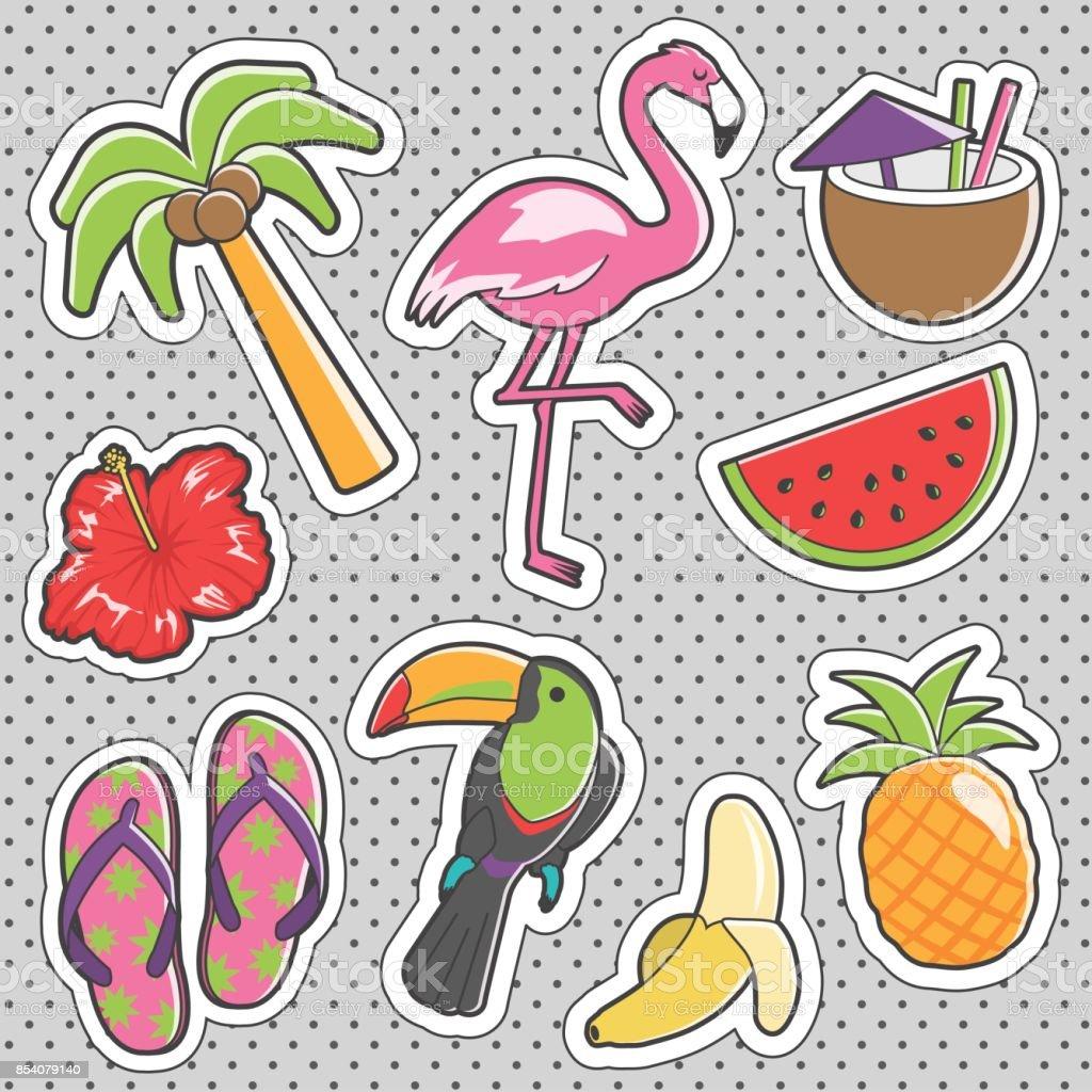 Fun trendy vintage sticker tropical fashion badges vector art illustration