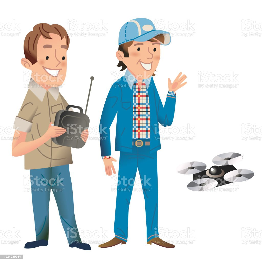 Fun with a drone vector art illustration