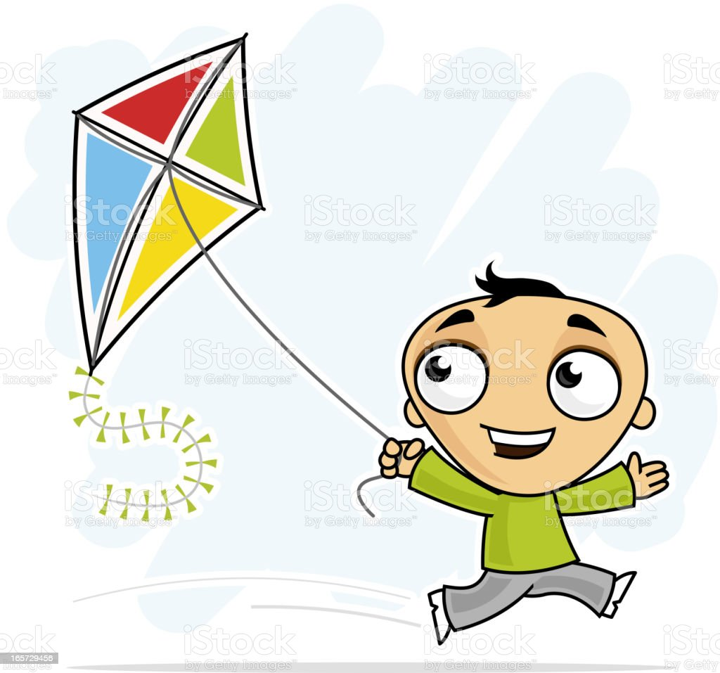 Fun with a kite Little boy running with a kite. Boys stock vector