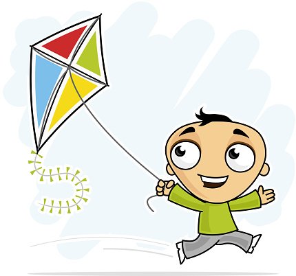 Fun With A Kite Stock Illustration - Download Image Now