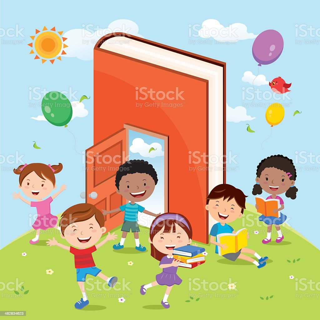 Fun with books and reading activities. vector art illustration