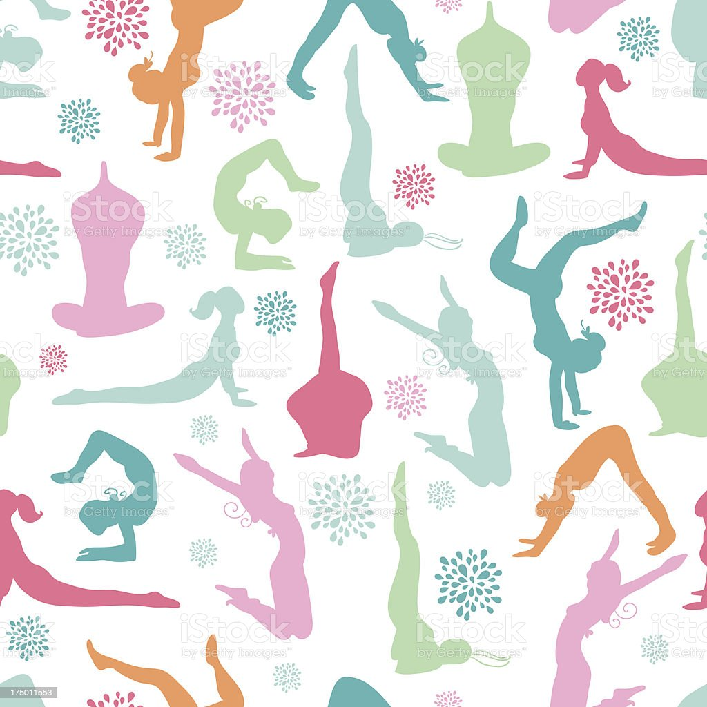 Fun workout fitness girls seamless pattern background royalty-free stock vector art