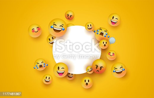 Fun 3d yellow emoticon faces with isolated white frame template. Social chat app icons for modern online project or funny children product.