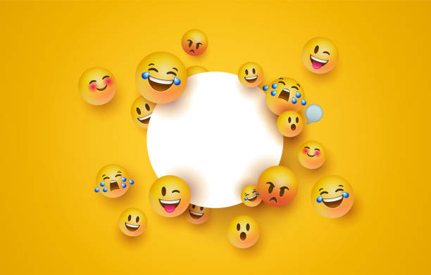 illustrazioni stock, clip art, cartoni animati e icone di tendenza di fun yellow emoji icon white circle frame template - sorriso