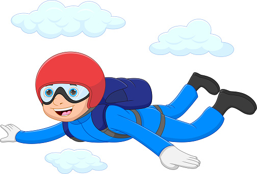 Fun young boy enjoying sky diving jump off from the plane