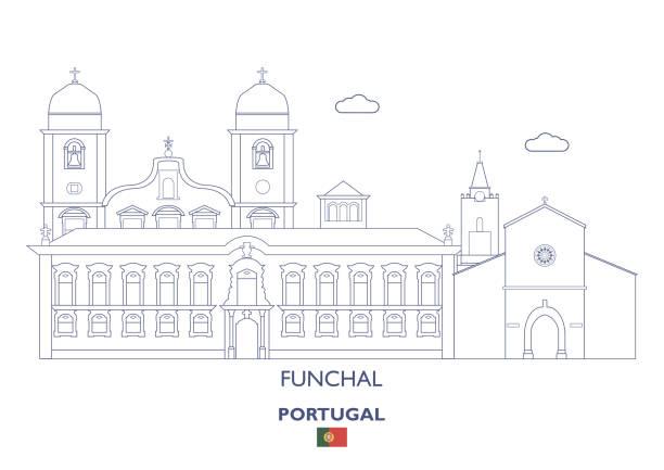 ilustrações de stock, clip art, desenhos animados e ícones de funchal linear city skyline, portugal - funchal madeira
