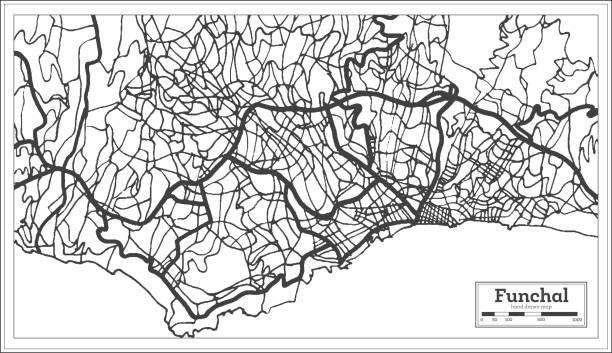 ilustrações de stock, clip art, desenhos animados e ícones de funchal portugal city map in retro style. outline map. - funchal madeira
