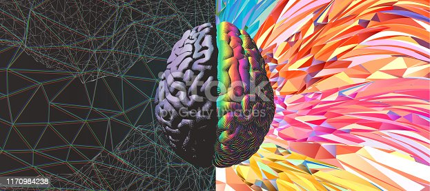 Human brain hemispheres gray left and rainbow color right brain engraving in top view illustration isolated on white with art background