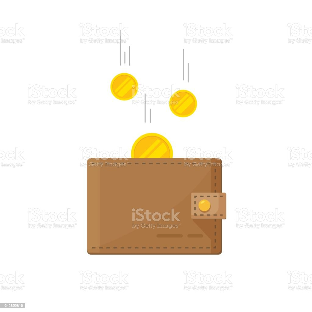Fund savings, cash earnings, financial success, getting wealth, salary income icon isolated on white vector art illustration