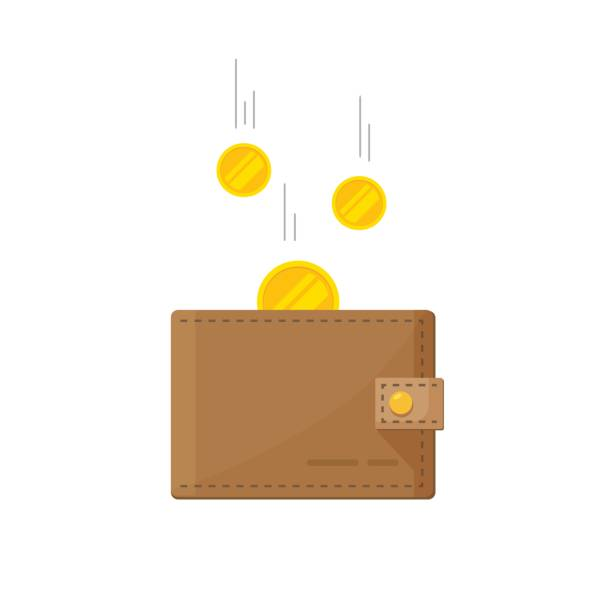 Fund savings, cash earnings, financial success, getting wealth, salary income icon isolated on white Golden coins money flying in wallet vector illustration, idea of fund savings, cash earnings, financial success, getting wealth, salary income icon isolated on white wallet stock illustrations