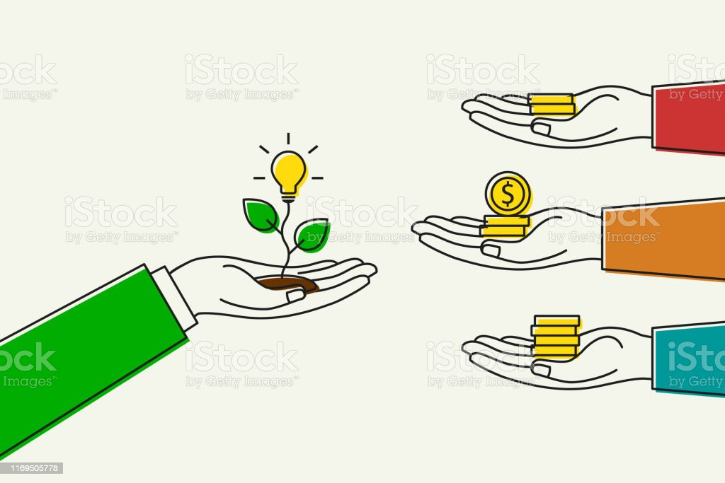 Hand holding lightbulb while others giving money for it. Funding and...