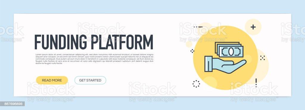 資金調達プラットフォーム」のコンセプト - フラット ライン Web バナー ベクターアートイラスト