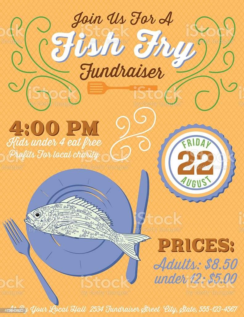 fundraiser fish fry poster template stock illustration