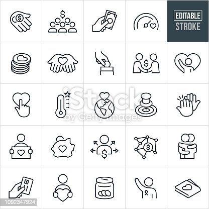 A set of fundraising icons related to charity and relief work. The icons have editable strokes or outlines when using the vector file format. The icons include donations, fundraisers, charity and relief work, giving, giving money, fundraising goals, money, philanthropy, donors, volunteers and other related icons.