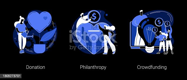 istock Fundraising abstract concept vector illustrations. 1305273701