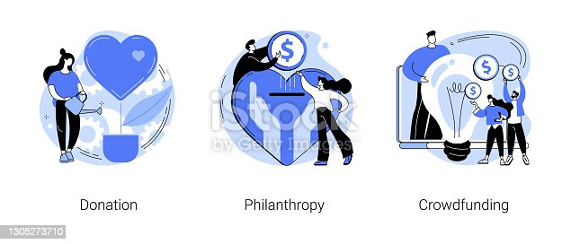 istock Fundraising abstract concept vector illustrations. 1305273710
