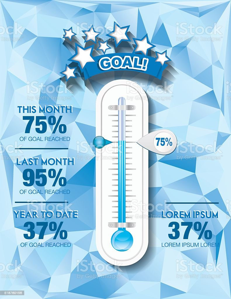 Fundraising Charity Goal Thermometer Templat vector art illustration