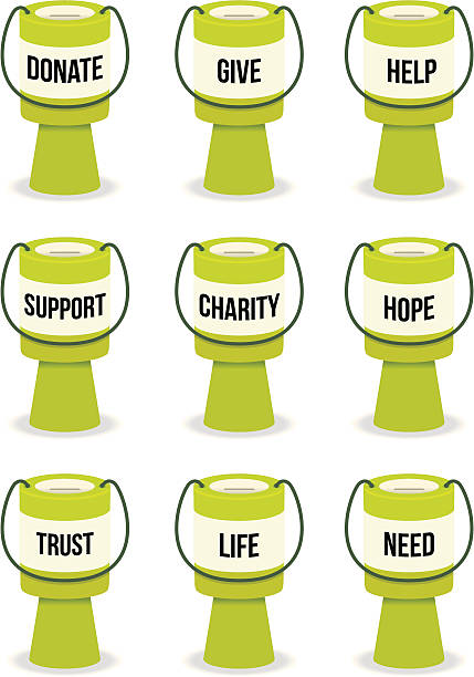 Fundraising-Kollektion Dosen mit text – Vektorgrafik