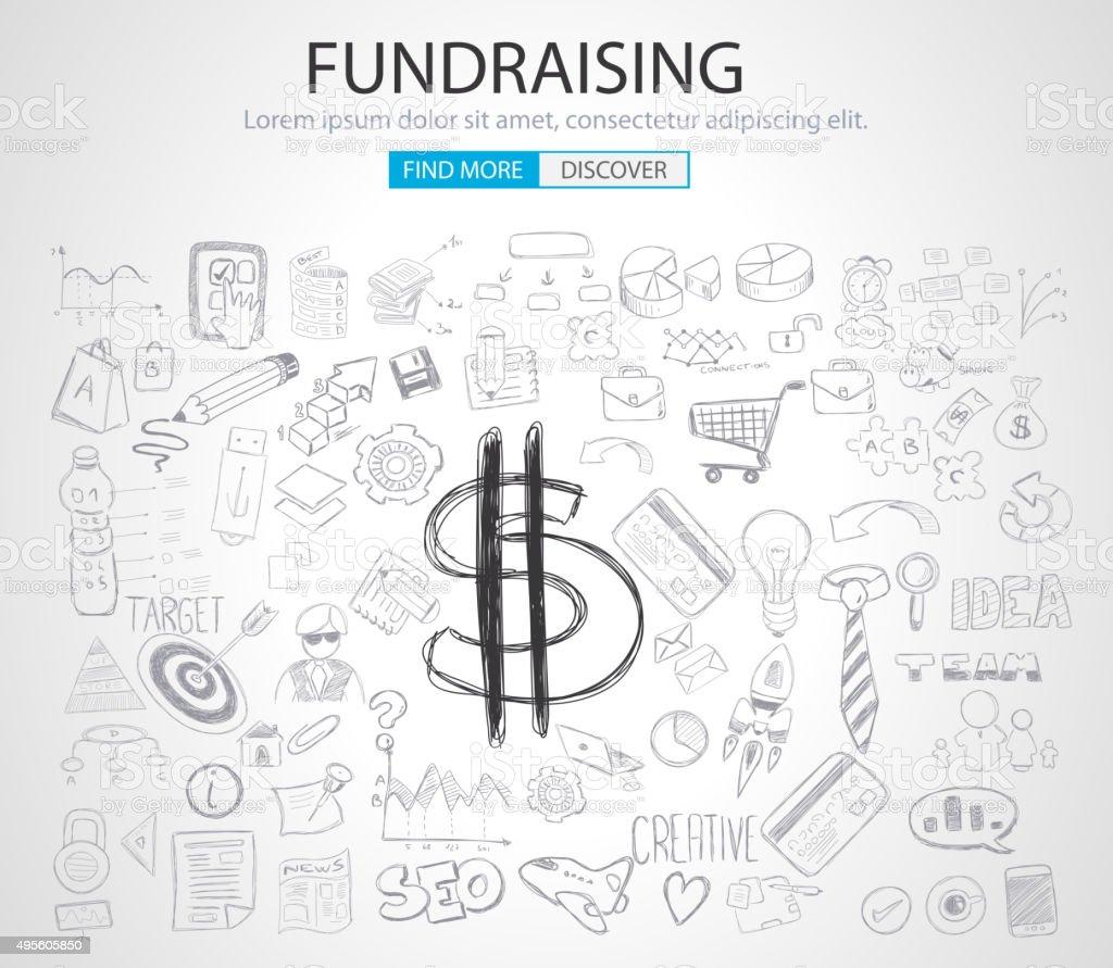 concept de collecte de fonds avec Doodle style - Illustration vectorielle