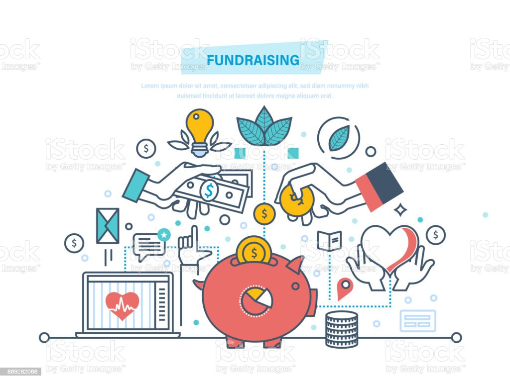 Fundraising. Fundraising event, volunteer center vector art illustration