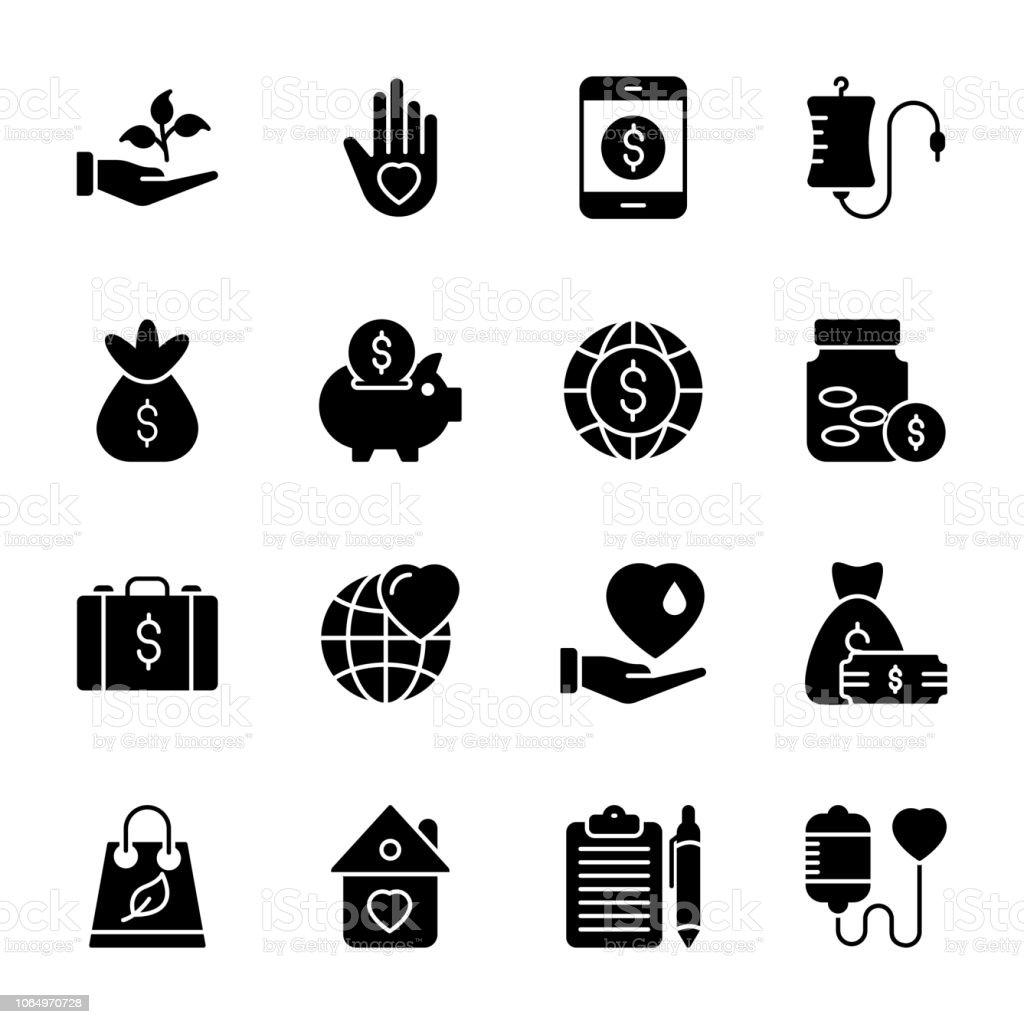 Iconos de la recaudación de fondos - ilustración de arte vectorial